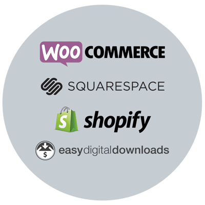 e commerce solution examples - woo commerce, square space, Shopify, easy digital downloads