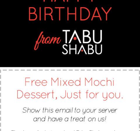 Tabu Shabu Birthday Promo Coupon