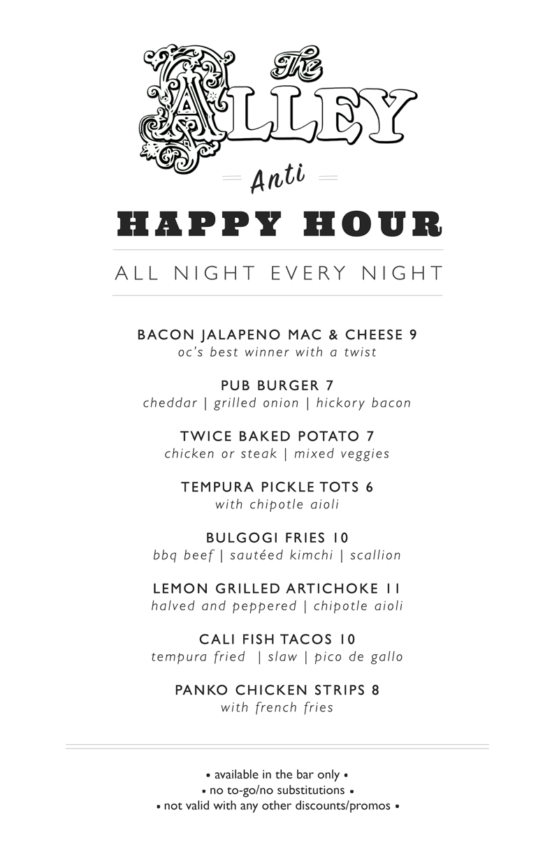 The Alley Happy Hour Menu