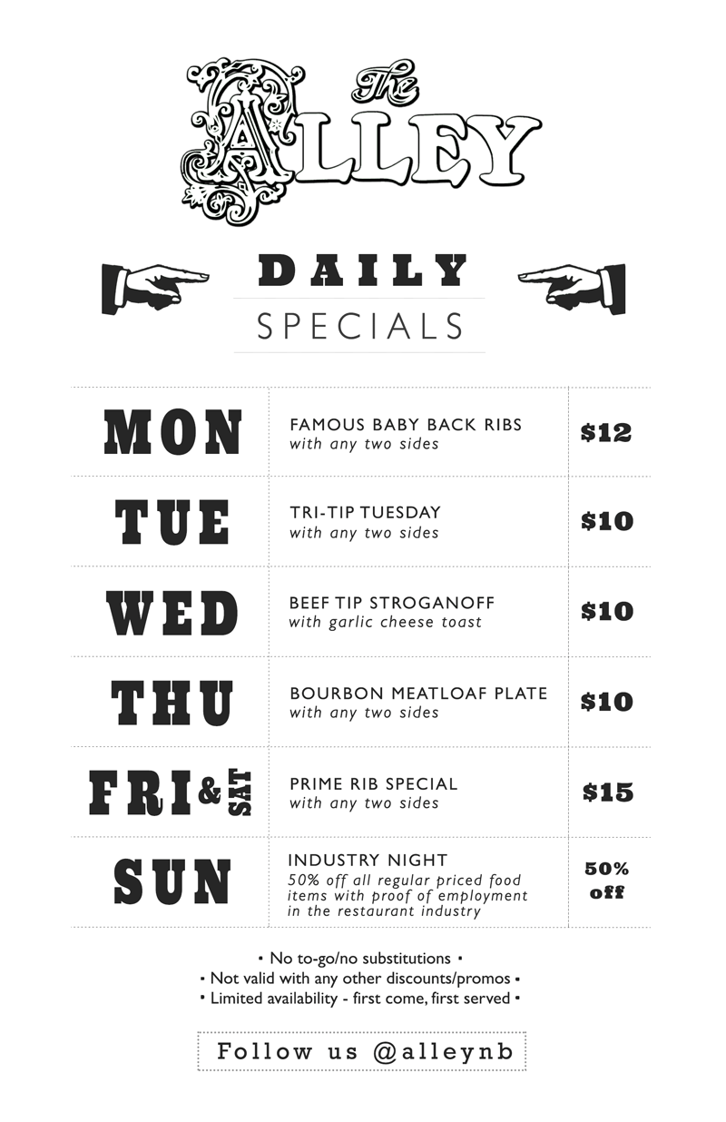 The Alley Daily Specials Menu