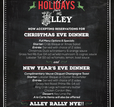 The Alley Christmas and NYE Party Flyer