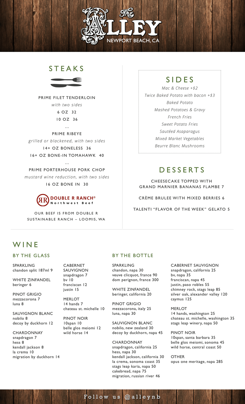 The Alley Dinner Menu