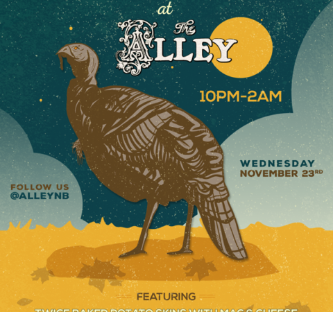 The Alley Thanksgiving Party Flyer