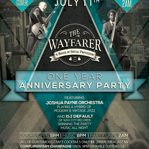 The Wayfarer 1 year anniversary flyer